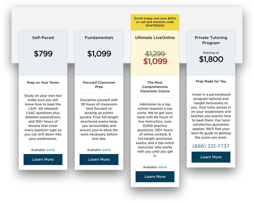 Princeton LSAT Review Pricing