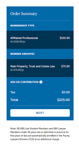 American Bar Association Pricing