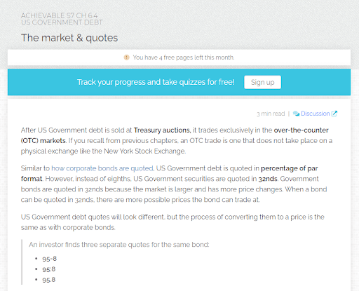 Achievable Series 7 Exam Prep Dashboard